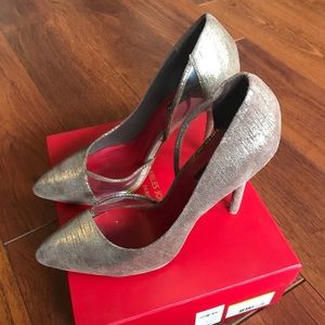 Charles Jourdan gold/clear Stilettos. 9.5